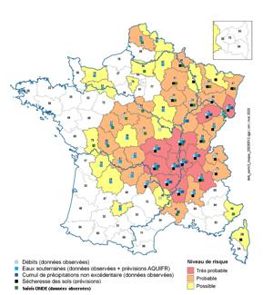 carte risque sécheresse en France